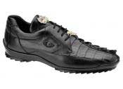 JSM-1228 Mens Belvedere Genuine Hornback Crocodile Black Sneaker