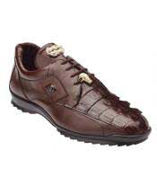 JSM-1226 Mens Belvedere Genuine Hornback Crocodile Brown Sneaker