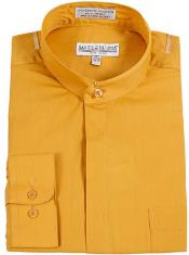 RM1098 Daniel Ellissa Banded Collar Gold (Mustard) Dress Shirt