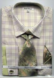 MK746 Daniel Ellissa Graph Checker French Cuff Dress Shirt