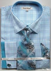 Checked Dress SHirt Turquoise