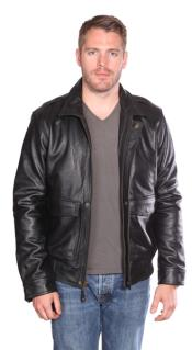 PN_Y8 Roger Leather Bomber Liquid Jet Black Available in