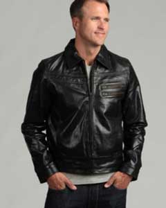 AC-204 Distressed Liquid Jet Black Buffalo Leather Jacket Available