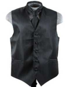 VS6259 Vest Tie Set Liquid Jet Black