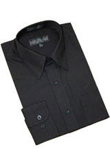 MK863 Solid Liquid Jet Black Cotton Blend Dress Shirt