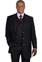PB5782 Liquid Jet Black Gangster Stripe ~ Pinstripe Vested