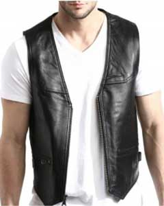 PNI67 Liquid Jet Black Lambskin Leather Zip-Front Vest Available