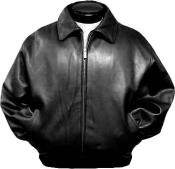 KA5781 Liquid Jet Black Leather jacket mens Bomber tanners