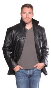 PN98 Luckas Leather Carcoat Liquid Jet Black Available in