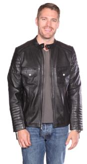 PN84 Flynn Leather Quilted Jacket Liquid Jet Black Available