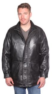 PN86 Garner Leather Parka Liquid Jet Black Available in