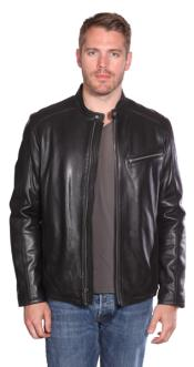 PN88 Stanton Leather Moto Jacket Liquid Jet Black Available