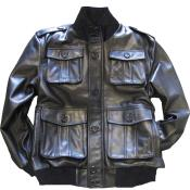 KA5474 Liquid Jet Black safari/military inspired bomber with bellowed
