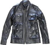 KA6432 Liquid Jet Black Military Genuine Leather Jacket Slim