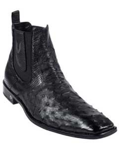 KA5421 Liquid Jet Black Full Quill Ostrich Dressy Boot