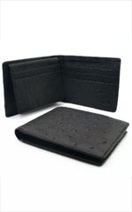 BIF8011 Ostrich Wallet - Liquid Jet Black ID Holder