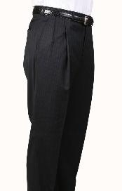 IX2396 Liquid Jet Black Pinstripe Parker Pleated Slacks Pants