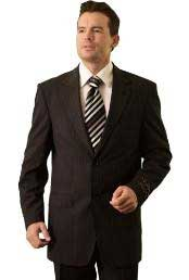 RM28882 Trueran-Viscose Liquid Jet Black Pinstripe Classic cheap discounted