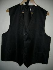 KA1290 Liquid Jet Black VEST & TIE SET