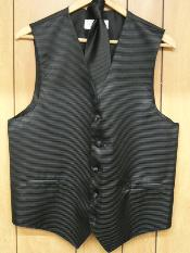 KA1310 Liquid Jet Black Vest & Tie set