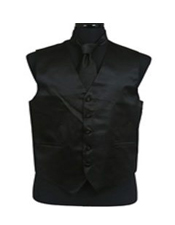 VS1010 Vest Tie Set Liquid Jet Black