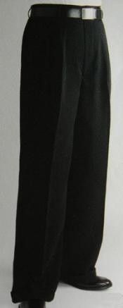 XL3099 Liquid Jet Black Wide Leg Dress Pants Pleated