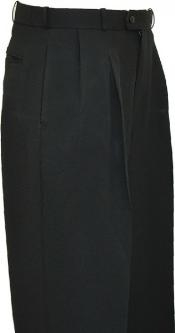 LZ9992 Solid Liquid Jet Black Wide Leg Slacks Pleated