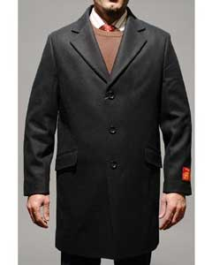 FP8085 Liquid Jet Black Wool Fabric and Cashmere Carcoat