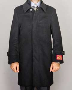 Mens Overcoat Liquid Jet Black