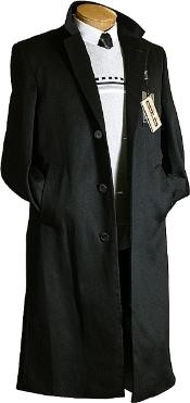 BJ7822 Liquid Jet Black Cashmere Wool Fabric / overcoats