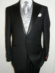 KA1280 Liquid Jet Black Tuxedo 100% Wool Fabric Superior
