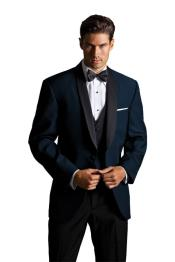 PNQ70 Formal Suit Liquid Jet Black Lapeled Blue Big