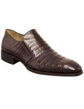 JSM-6007 Mens Mezlan Sleek Dark Brown Crocodile Loafer Italian