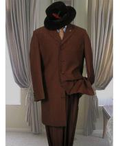 GD1699 Mens Dark Brown Single Breasted 5 Button Long
