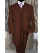 GD1698 Mens Button Closure Dark Brown Vested Long Zoot