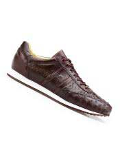 SM4981 Mens Genuine Ostrich Dark Burgundy Rubber Sole Leather