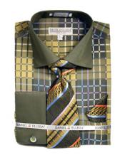 JSM-2789 Mens French Cuff Lime Checker Pattern Dress Shirts