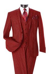 SM4842 Mens Dark Red & White Pinstripe 2 Button