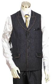 QK1920 Liquid Jet Black 2pc Denim Vest Sets