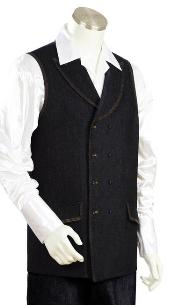 QW9023 2pc Denim Vest Sets - Liquid Jet Black