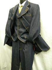 PL1939 New Three Piece Blue Denim Fashion Suit
