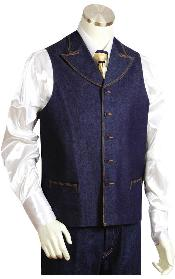 HT2457 2pc Denim Vest Sets in Blue