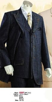 MU1122 Denim Cotton Fabric 1940s Mens Suits Style For
