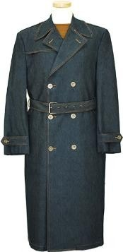 Navy Blue Shade Denim double breasted Long Trench Coat