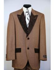 CH2475 Mens rhinestone peak lapel denim 2pc rust zoot