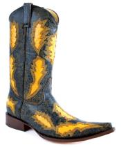 PN-49 Distressed Leather Look Boot with Diamond Laser-Cut Shape