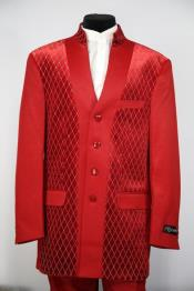 JA74 Mens Diamond Pattern Flap Two Pocket Red Zoot