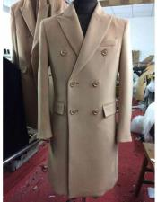 NM14159 Mens Winter Wool Double Breasted Long Overcoat Beige