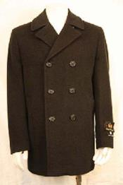 SK5623 Double Breasted PeaCoat Liquid Jet Black
