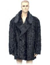 GD738 Mens Fur Double Breasted Black Pieces Mink 3/4
